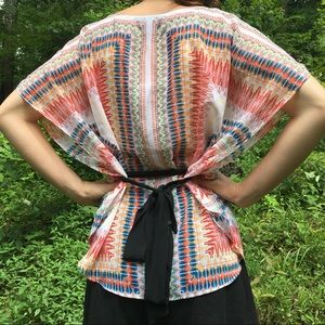 AGB Tops - Boho V Neck Colorful Tie Waist Top Size Small